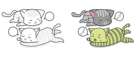 Sleeping cats cartoon coloring page for kids vector