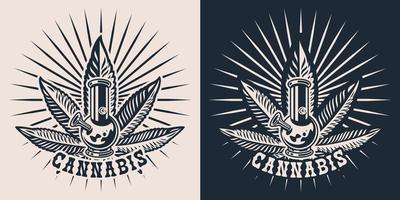 Establecer ilustraciones vectoriales sobre el tema del cannabis con un bong. vector