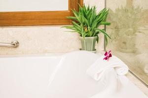 Bathtub in bathroom interior photo