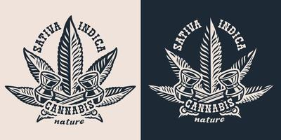 Set vector illustrations with a smoking pipe and hemp leaf