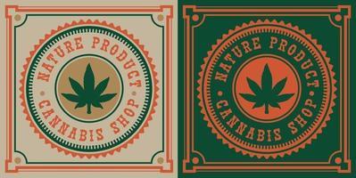 Vintage emblem of cannabis leaf vector