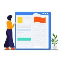 Reading Book Online Concept vector