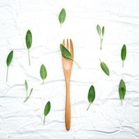 Sage leaves and wooden fork photo