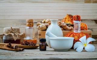 Aromatherapy spa treatment on a table