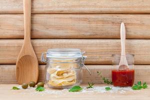 Italian food concept on a wood background photo