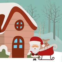 tarjeta de feliz navidad con santa claus vector