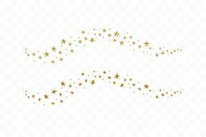 Falling golden stars. Cloud of golden stars isolated vector