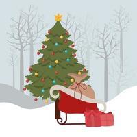 feliz navidad tarjeta con trineo y regalos vector