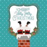 feliz navidad, tarjeta, con, santa claus, en la chimenea vector