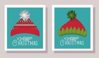 tarjeta de feliz navidad con sombreros vector