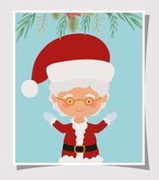 tarjeta de feliz navidad con la sra. claus vector
