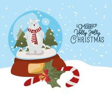 feliz navidad tarjeta con bola de cristal vector