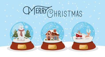 feliz navidad tarjeta con bolas de cristal vector