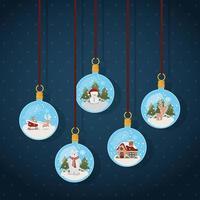feliz navidad tarjeta con adornos colgando vector