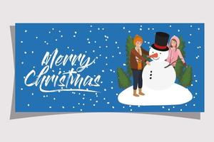 pareja joven, con, navidad, muñeco de nieve vector