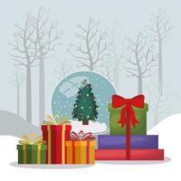tarjeta de feliz navidad con caja de regalos vector