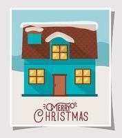 tarjeta de feliz navidad con linda casa vector