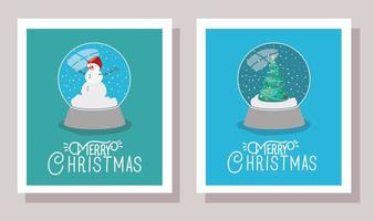Merry Christmas cards with crystal balls vector