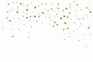 Many Falling Luxury Golden Confetti. Birthday Celebration. Vector Illustration