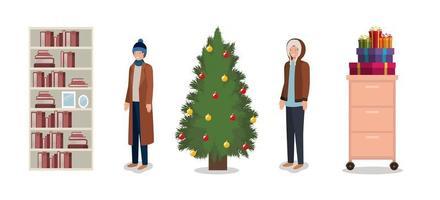 navidad en casa set vector