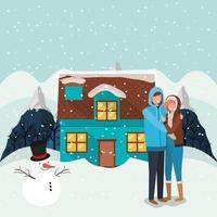 pareja celebrando la navidad con muñeco de nieve vector