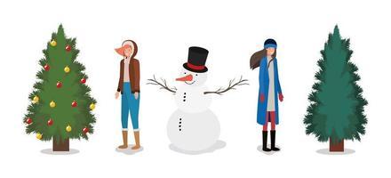 niñas con pinos y muñeco de nieve celebración navideña vector