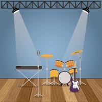 conjunto de instrumentos de banda de música vector
