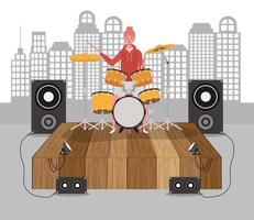 young woman playing drums vector