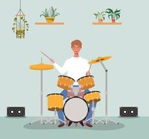 young man playing drums vector