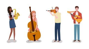 grupo de personas interraciales tocando música en una banda vector