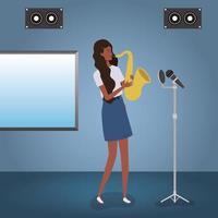 mujer afro, juego, saxofón, carácter vector