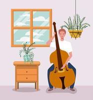 Hombre tocando el carácter de instrumento de violonchelo vector