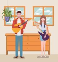 pareja tocando instrumentos juntos vector