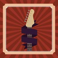 poster with electric guitar instrument vector
