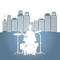 man playing drums vector