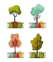 autumn plants with metal park fence vector
