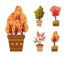 plantas de otoño en macetas de cerámica iconos vector