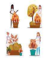 grupo de mujeres con plantas de otoño vector