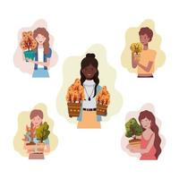 group of women with autumn plants vector