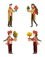 group of young people with autumn plants vector