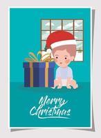 niño con regalo celebración navideña vector