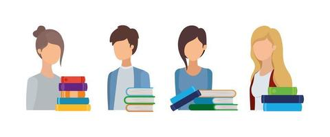 group of students with books vector