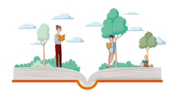 couple of students reading books vector