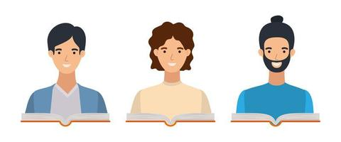 group of students boys with books vector