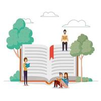 group of students reading books at the park vector