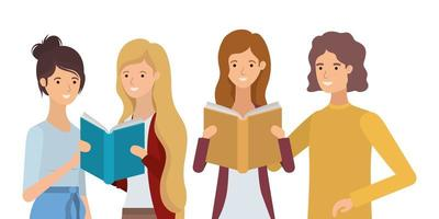 group of young women reading books vector