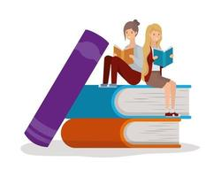 young women reading books vector