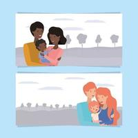 cute and happy family members banner set vector