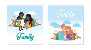 lindo y feliz conjunto familiar vector
