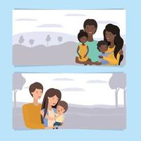 cute and happy family banner set vector